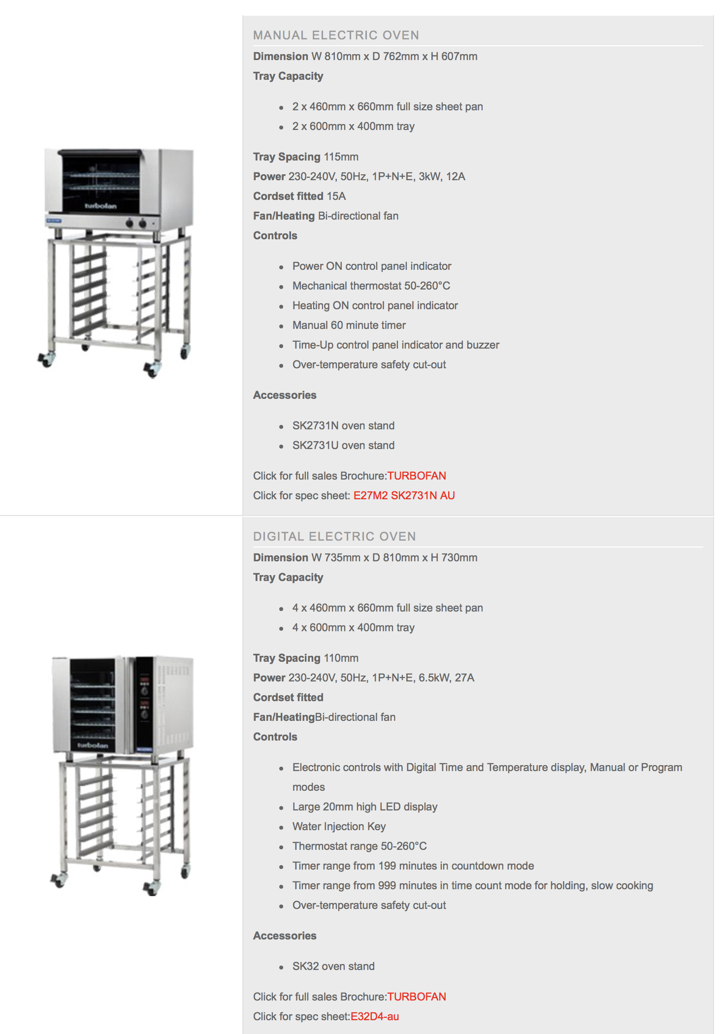 Turbofan Convection Ovens