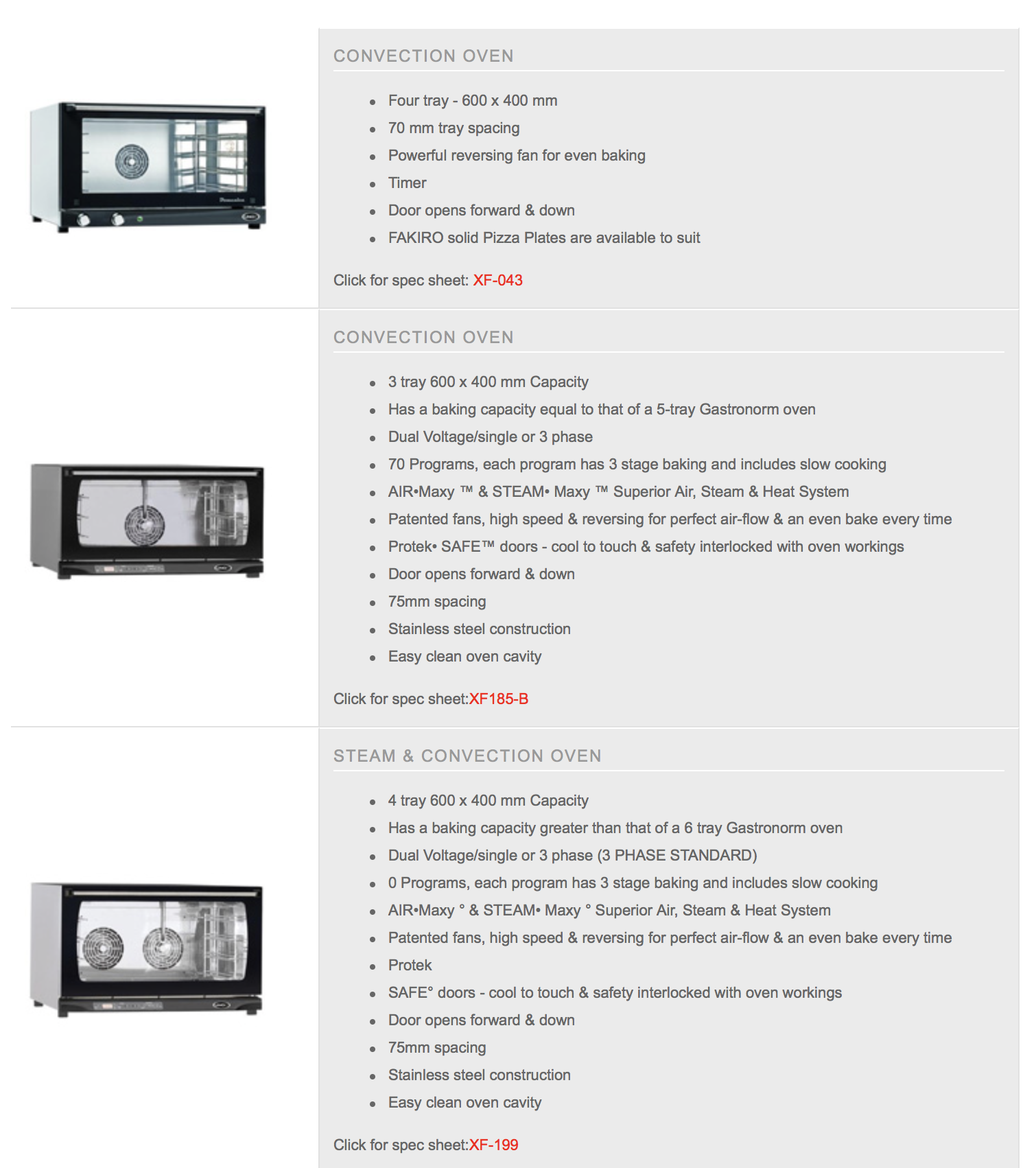 Unox Convection Ovens