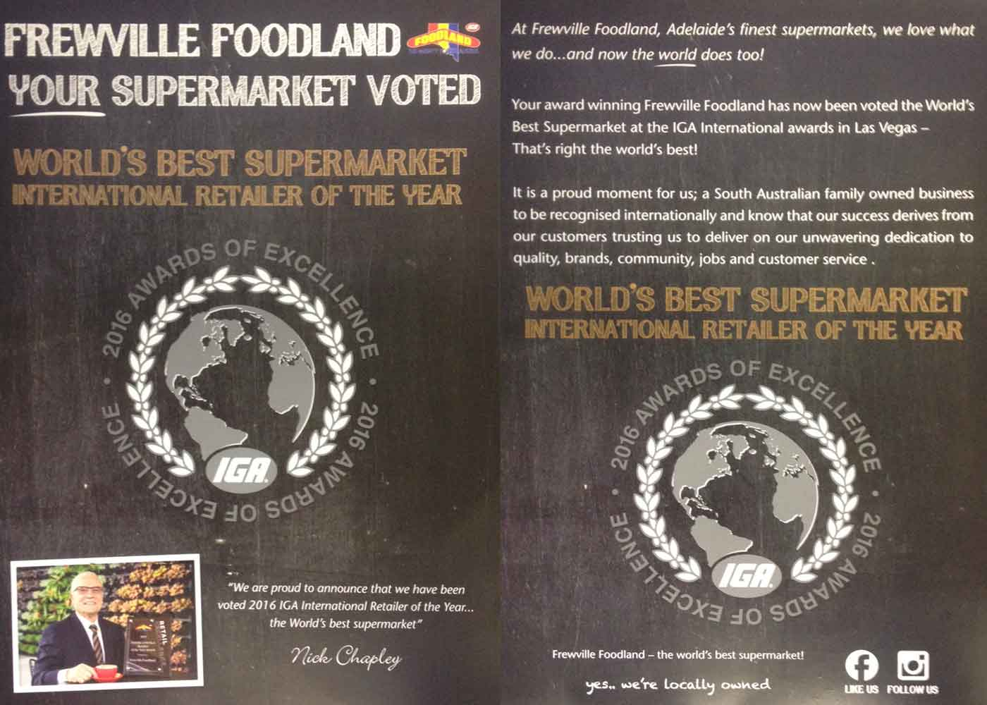 Best supermarket in the world Frewville Foodland win award