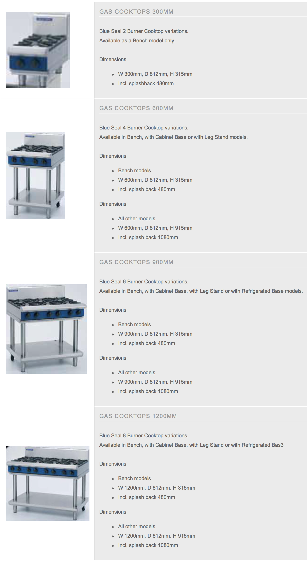 Blue Seal Cooktops Specs & Features