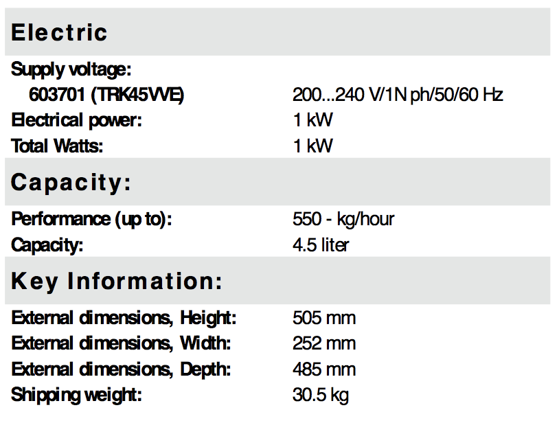TRK Specifications