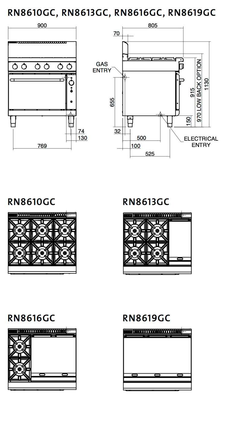 Waldorf Oven Cooktop Configurations
